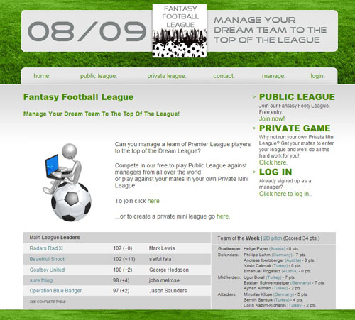 Fantasy Soccer League Homepage Screenshot