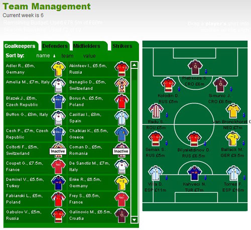 Team Management Screenshot